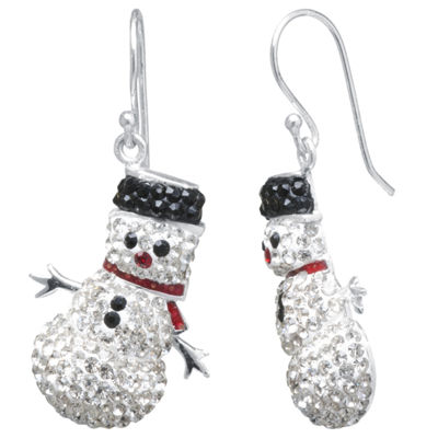 Sparkle Allure Snowman Multi Color Crystal Silver Over Brass Drop Earrings