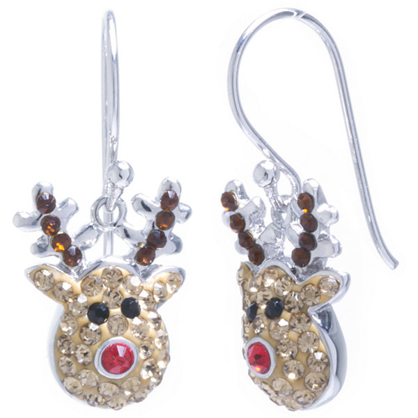 Sparkle Allure Rudolph Multi Color Crystal Silver Over Brass Drop Earrings