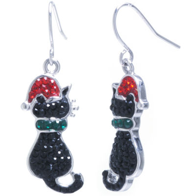 Sparkle Allure Cat Santa Hat Multi Color Crystal Silver Over Brass Drop Earrings
