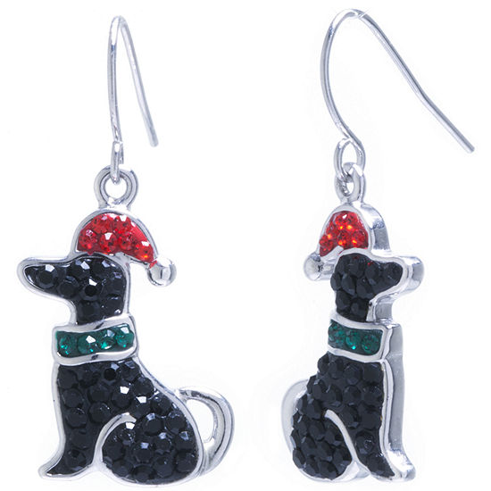 Sparkle Allure Dog Santa Hat Multi Color Crystal Silver Over Brass Drop Earrings