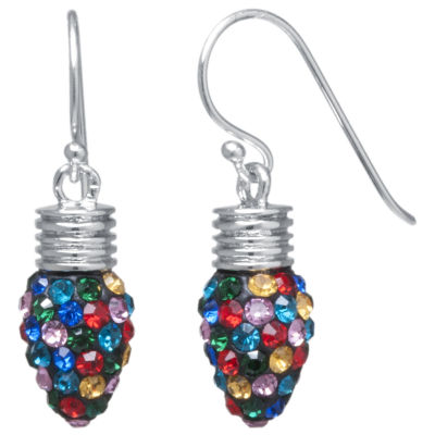 Sparkle Allure Tree Bulb Multi Color Crystal Silver Over Brass Drop Earrings