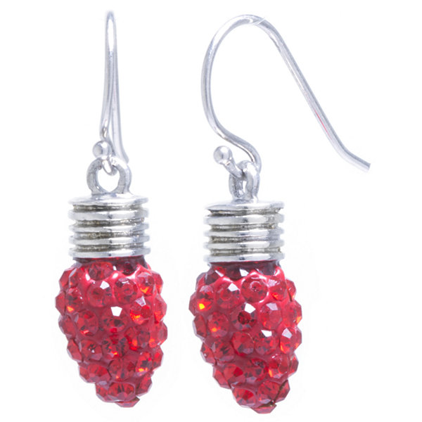 Sparkle Allure Red Crystal Tree Bulb Silver Over Brass Drop Earrings