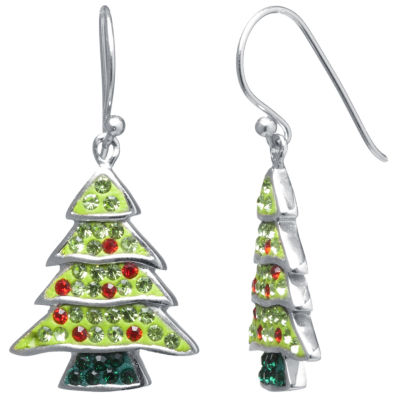 Sparkle Allure Christmas Tree Multi Color Crystal Silver Over Brass Drop Earrings