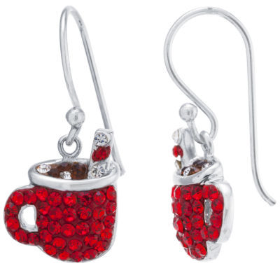 Sparkle Allure Hot Cocoa Mug Multi Color Crystal Silver Over Brass Drop Earrings