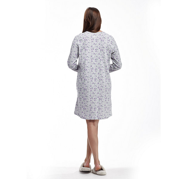 La Cera Printed Heather Nightshirt