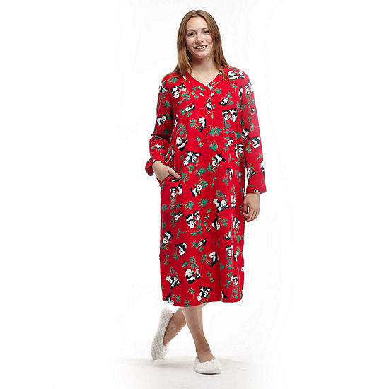 La cera plus size novelty print henley flannel nightshirt for Womens flannel night shirts