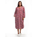 La Cera Plus Size Novelty Print Henley Flannel Nightshirt - Plus