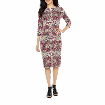London Style 3/4 Sleeve Pattern Sheath Dress