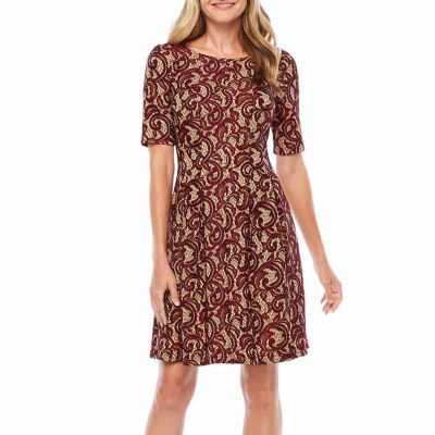 Danny & Nicole Elbow Sleeve Lace Scroll Fit & Flare Dress
