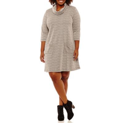 Perceptions 3/4 Sleeve Sheath Dress-Plus