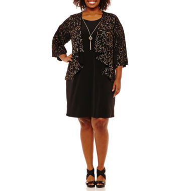 Tiana B 3/4 Sleeve Jacket Dress-Plus