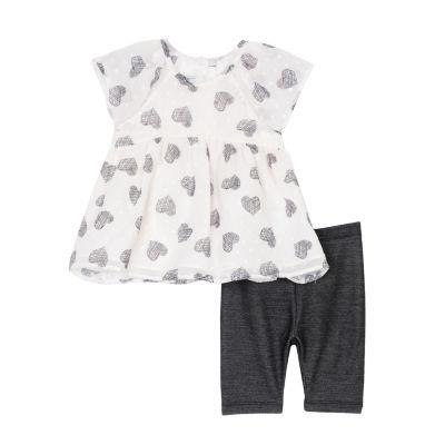 Marmellata 2-pc Short Sleeve Black White Heart Top Legging Set-Baby Girls