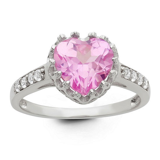 Womens Lab Created Pink Sapphire Sterling Silver Heart Cocktail Ring