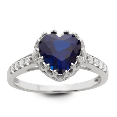 Womens Lab Created Blue Sapphire Sterling Silver Heart Cocktail Ring