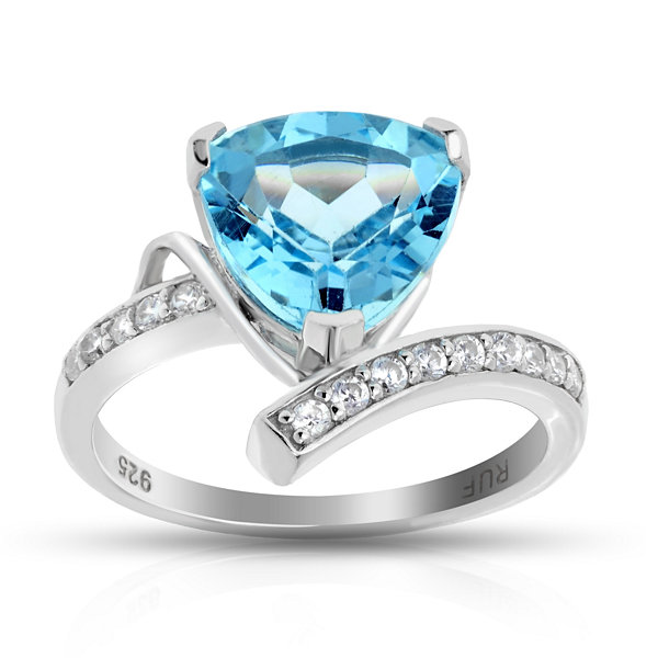 Womens High Pressure/High Temperature Blue Topaz Sterling Silver Cocktail Ring