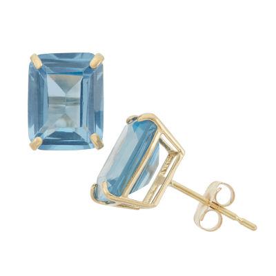Lab Created Blue Aquamarine 10K Gold 9mm Stud Earrings