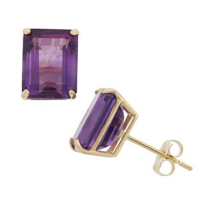 Emerald Purple Amethyst 10K Gold Stud Earrings