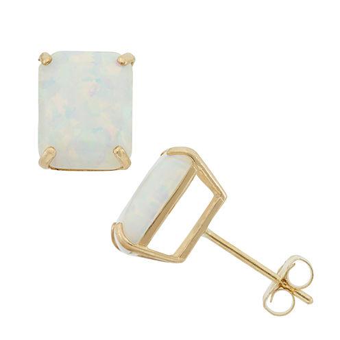 Emerald White Opal 10K Gold Stud Earrings