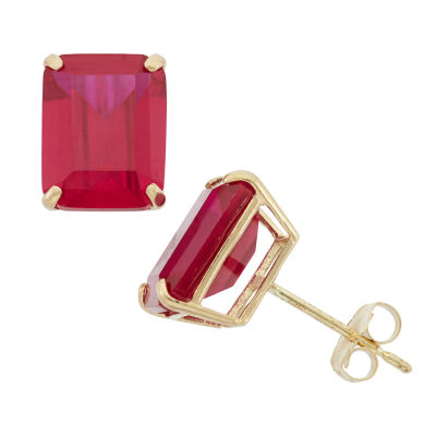 Lab Created Red Ruby 10K Gold 9mm Stud Earrings