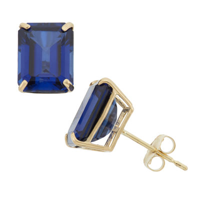 Emerald Blue Sapphire 10K Gold Stud Earrings