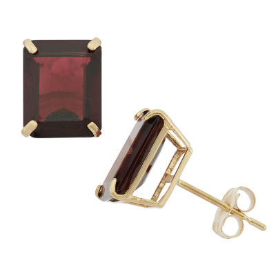 Genuine Red Garnet 10K Gold 9mm Stud Earrings