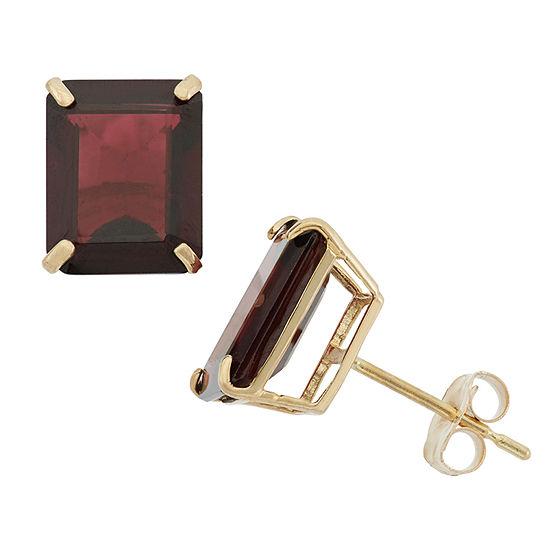 Genuine Red Garnet 10K Gold 9mm Stud Earrings