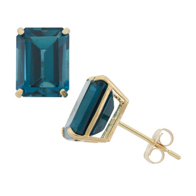 Genuine Blue Blue Topaz 10K Gold 9mm Stud Earrings