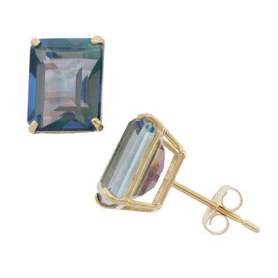 Genuine Mystic Fire Topaz 10K Gold 9mm Stud Earrings