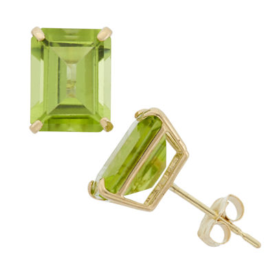 Genuine Green Peridot 10K Gold 9mm Stud Earrings