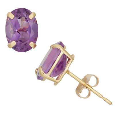 Genuine Purple Amethyst 10K Gold 8mm Oval Stud Earrings