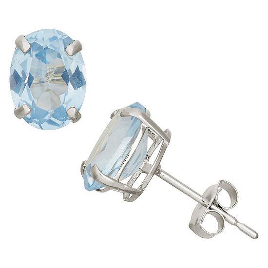 Lab Created Blue Aquamarine 10K Gold 8mm Stud Earrings