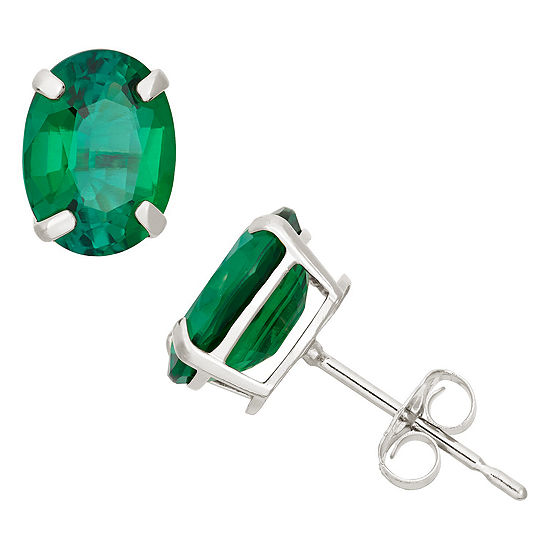 Lab Created Green Emerald 10K Gold 8mm Stud Earrings