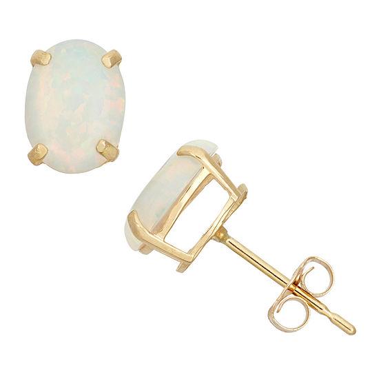 Lab Created White Opal 10K Gold 8mm Stud Earrings