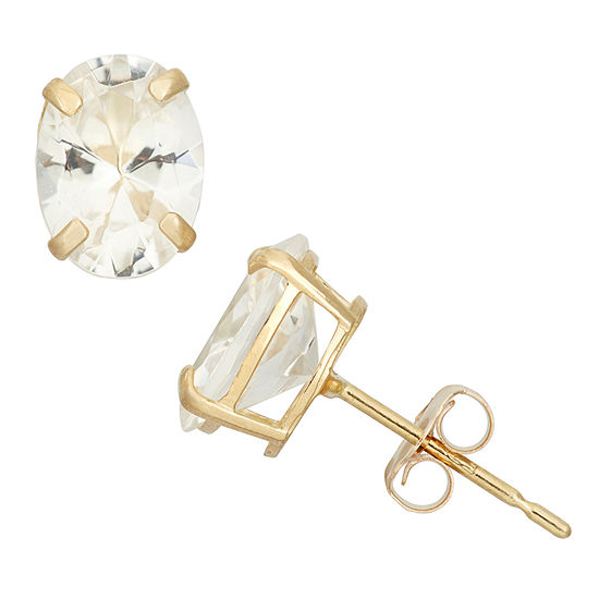 Lab Created White Sapphire 10k Gold 8mm Stud Earrings