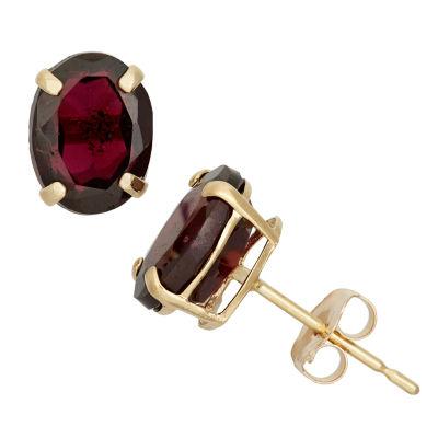 Round Red Garnet 10K Gold Stud Earrings