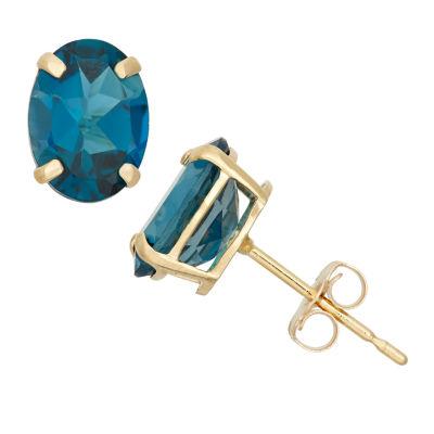 Round Blue Blue Topaz 10K Gold Stud Earrings