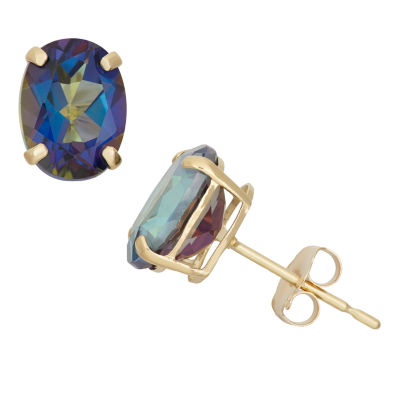 Round Blue Mystic Fire Topaz 10K Gold Stud Earrings