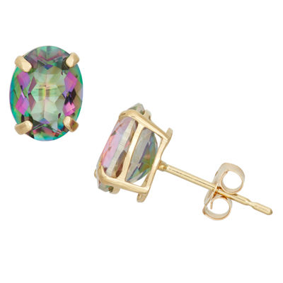 Genuine Blue Mystic Fire Topaz 10K Gold 8mm Stud Earrings