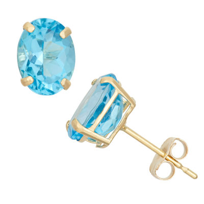 Genuine Blue Blue Topaz 10K Gold 8mm Stud Earrings