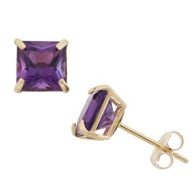 Princess Purple Amethyst 10K Gold Stud Earrings