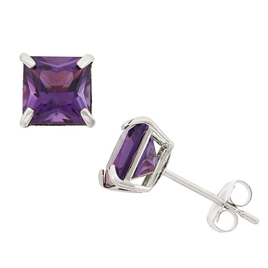 Genuine Purple Amethyst 10K Gold 6mm Stud Earrings