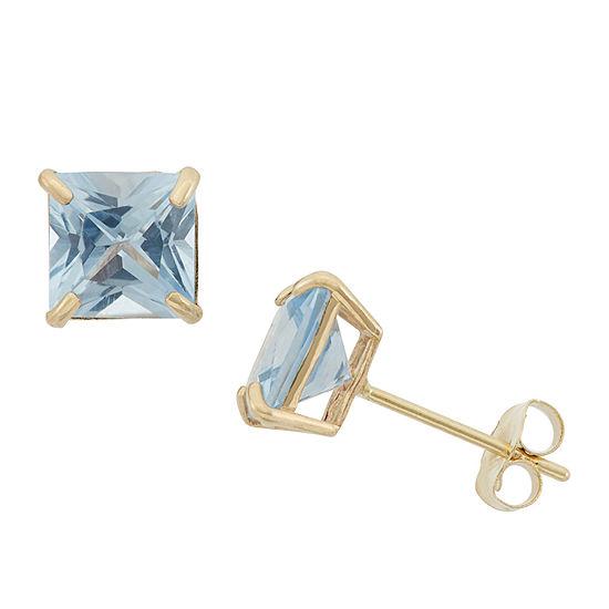 Lab Created Blue Aquamarine 10K Gold 6mm Stud Earrings