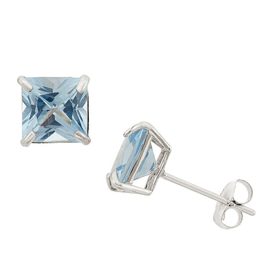 Lab Created Blue Aquamarine 10K Gold 6mm Stud Earrings