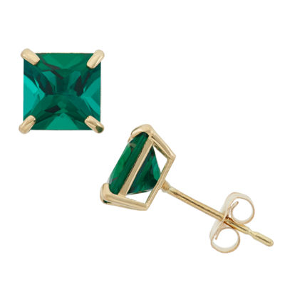 Lab Created Green Emerald 10K Gold 6mm Stud Earrings