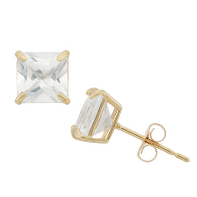 Lab Created White Sapphire 10K Gold 6mm Stud Earrings