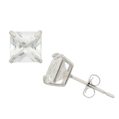 Princess White Sapphire 10K Gold Stud Earrings