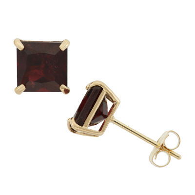 Genuine Red Garnet 10K Gold 6mm Stud Earrings