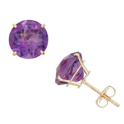Genuine Purple Amethyst 10K Gold 8mm Stud Earrings