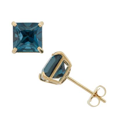 Genuine Blue Topaz 10K Gold 6mm Stud Earrings