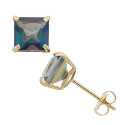 Genuine Blue Mystic Fire Topaz 10K Gold 6mm Stud Earrings